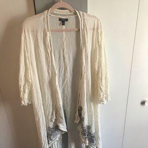 White and grey sequin kimono